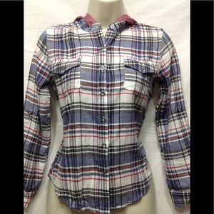 Junior's size Large MIA CHICA plaid shirt w hoodie